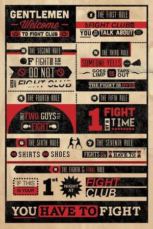 Poster Fight Club Rules Regeln Taekwondo Boxen Judo Wrestling - Größe 61 x 91,5 cm - Maxiposter