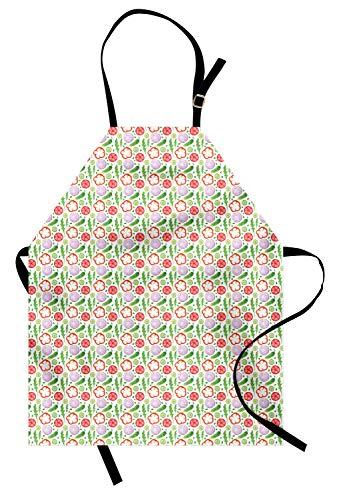 ABAKUHAUS Gemüse Kunst Kochschürze, Aquarell-organisches Thema mit Zwiebel-Gurken-rotem Pfeffer-Rettich, Farbfest Höhenverstellbar Waschbar Klarer Digitaldruck, Farngrün Lavendel -