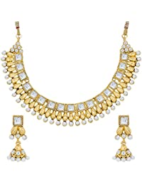 The Luxor White Pearl Choker Party Wear Necklace Set For Women & Girls-NK-2202
