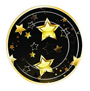 "Forum Novelties- Birthday Milestone Plates 7""(8 in pkt), Color black, gold (X82056)"