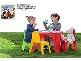 Vetrineinrete Tavolino in plastica colorato per Bambini con Quattro sedie Tavolo da Gioco per Giardino casa cameretta per Giocare colorare Idea Regalo 2221
