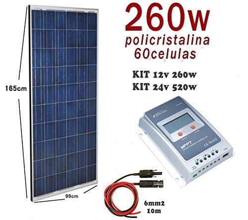 Composición del Kit Solar: Panel solar fotovoltaico 260W Regulador solar MPPT Tracer 20A 12V/24V con display Máxima Eficiencia Par de cable solar extensión de 10m y 6mm2 con 2 conectores MC4 por cable