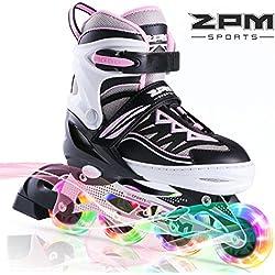 2PM SPORTS Cytia Taille réglable Roller Enfant Fille lumière LED Roues, Rollers en Ligne pour Enfants,Fille at Femmes et Homme - Pink S(28-31EU)