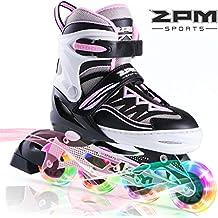 2pm Sportes Cytia tamaño ajustable iluminación patines en línea para niños y adolescentes con luz completa hasta LED ruedas, diversión flashing roller blades para niños y niñas - Rosa M(34-37)