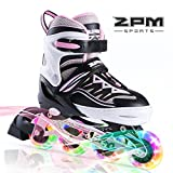 2pm Sports Cytia Kids Adjustable Illuminating Inline Skates with Full Light Up LED Wheels, Fun Flashing Rollerblades for Boys and Girls - Pink L(36-39EU)