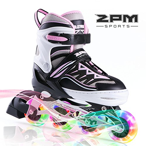 2PM SPORTS Cytia Verstellbar Inliner für Kinder, LED Leucht Inline Roller Skates Rollschuhe für Damen Fun Flashing Skates for Boys and Girls - Pink S(28-31EU)