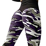 VENMO Damen Mode Workout Leggings/Fitness Sport Gym Running/Yoga Sporthose/Sporthose Lange Fitnesshose/Bedruckte Bunte Leggins/Damen Leggings lang Sport Yoga/Hose Stretch (Purple, XL)
