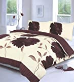 Off White & Chocolate Brown King Size Duvet Quilt Cover Bedding Bed Set Floral