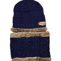 TININNA - Conjunto de invierno de 2piezas de punto Beanie, gorro y bufanda de círculo para el cuello para bebés, niñas y niños, color azul marino, tamaño 2 unidades