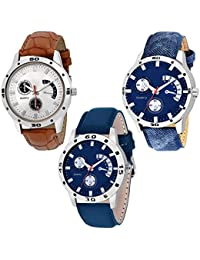 NUBELA Brown And Blue Color Casual Analog Watch For Boys And Mens