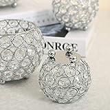 VINCIGANT Silber Schüssel Kristall Kerzenhalter für Couchtisch Dekoration Tabelle Kernstück Hochzeit Feier,Durchmesser 8cm - 5