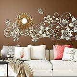 Wandora G076 Wandtattoo Blumenranke I grün 58 x 29 cm I Schmetterlinge Blumen Ranke Wohnzimmer Aufkleber Wandaufkleber Wandsticker