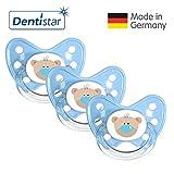 Dentistar Silikon Schnuller 3er Set - Beruhigungssauger, Nuckel, Nuggi, Größe 3, 14+ Monate - zahnfreundlich & kiefergerecht | Blau Bär