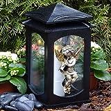 ♥ Grablaterne Grablampe Ornament Engel Massiv Schwarz 28,0 cm mit Grabkerze Grabschmuck Grableuchte Grablicht Laterne Kerze Lampe Schutzengel