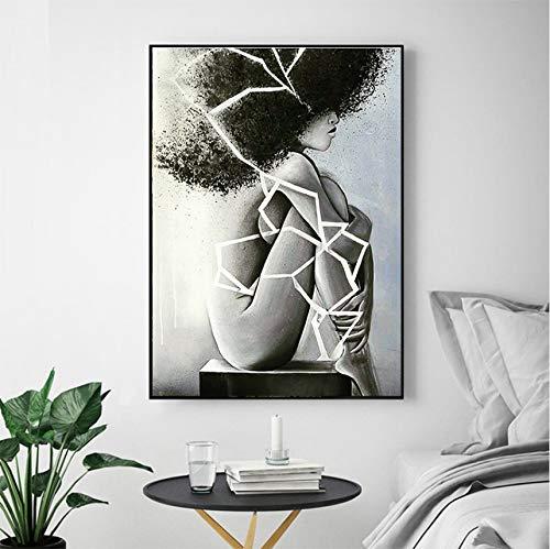 Öl Druck Kunst leinwand gemälde Poster, schwarz und weiß weibliche Kunst Bild für Schlafzimmer Zimmer wandkunst Poster 60x80cm (Fotos Superhelden Weibliche)