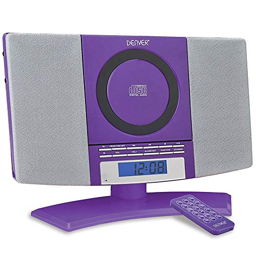 Denver Musik-Center (vertikaler CD-Player mit LCD-Display, AUX-In, Wandhalterung, Weckerradio) violett