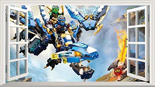 Preisvergleich Produktbild LEGO Ninjago V300selbstklebend Magic Wandtattoo Fenster Poster Wall Art Größe 1000mm breit x 600mm tief (groß)