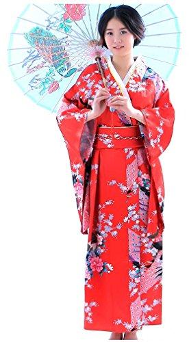 Botanmu Frauen Kimono Robe Japanische Kleid Fotografie Cosplay Kostüm 5 Farben (Rot) (Home-kleider Für Frauen)