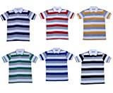 Indistar Boys Half Sleeves Cotton Polo T-Shirts(Pack of 6)_Yellow::Blue::Red::Black::Green::Purple_L