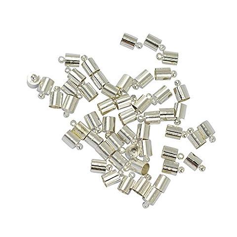 50pcs Laiton Cloches Cap Embouts pour Bricolage de Bijoux Kumihimo pour Cordon 5-6mm - Argent Blanc
