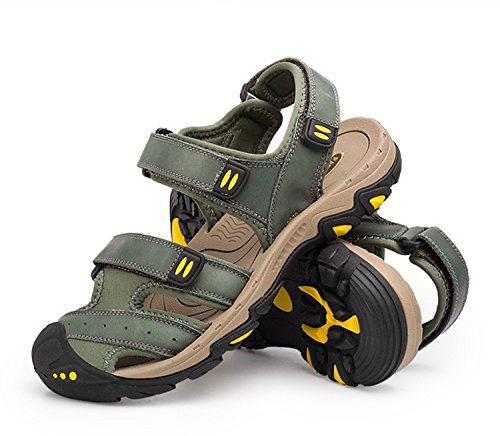 FFTX Pakamo Männer Sport Sandalen Athletic Outdoor Wasser Schuhe Fischer Strand Schuhe Leder Klettverschluss Breath Strap für Trekking Camping, EU43 Athletic Sport Sandalen