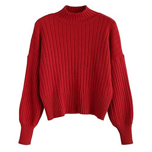 ZAFUL Damen Locker Rollkragenpullover Langarm Sweater Pulli Lose Bluse Pullover Tops(Rot) -