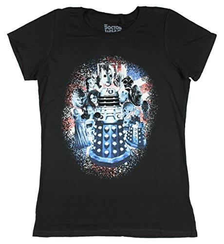 Doctor Who Damen T-Shirt Monster Group Distressed Gr. XXL - Schwarz - XX-Large