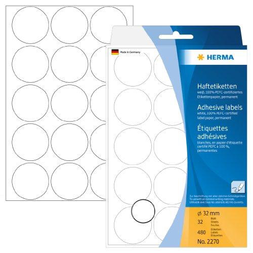 Herma 2270 Vielzweck Etiketten rund (Ø 32 mm) weiß, 480 Markierungspunkte, 32 Blatt Papier matt, selbstklebend, Handbeschriftung Runde Blätter