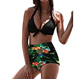 QingJiu Frauen Hohe Taille Bikinis Bademode Badeanzug Weibliche Retro Beachwear Bikini Set (Grün, Large)