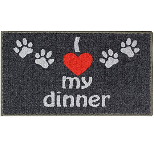 JVL I Love My Dinner Pet Animal Machine Washable Feeding Mat, Black, 40 x 70 cm