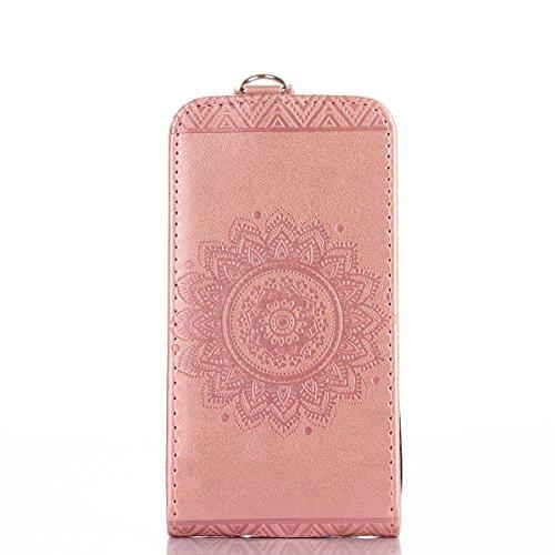 Custodia iPhone 4S,Case Cover per iPhone 4S, Ukayfe Luxury Puro Colore Modello Goffratura Murale Continental Cristallo 3D Design Bumper Slim Folio Protectiva Lussuosa Retro Custodia Cover [PU Leather] Oro rosa
