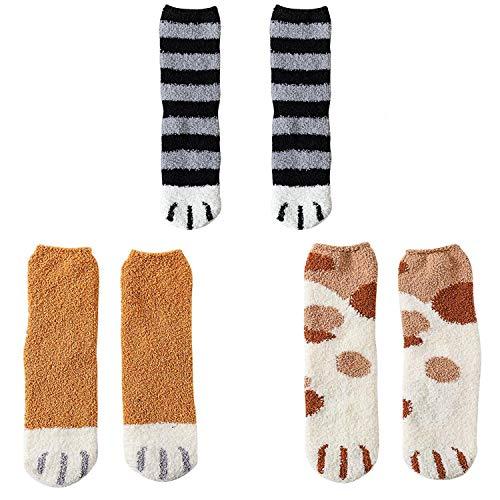 QKURT Calcetines de 3 pares de pantuflas para mujeres, calcetines de invierno para el interior Calcetines difusos para el hogar suaves y suaves Calcetines para dormir con garras de gato suaves