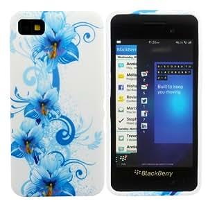 Kit Me Out TPU-Gel-Hülle + Displayschutzfolie mit Mikrofaser-Reinigungstuch für BlackBerry Z10 - Blau Blumenmotiv