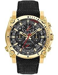 Bulova Mens Chronograph Quartz Watch with Leather Strap 97B178