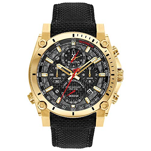 Bulova Herren Chronograph Quarz Uhr mit Nylon Armband 97B178 (Bulova Schwarz Uhren Für Männer)