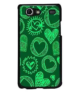 PrintVisa Designer Back Case Cover for Samsung Galaxy S Advance i9070 (Hearts Sketch In Green Design)