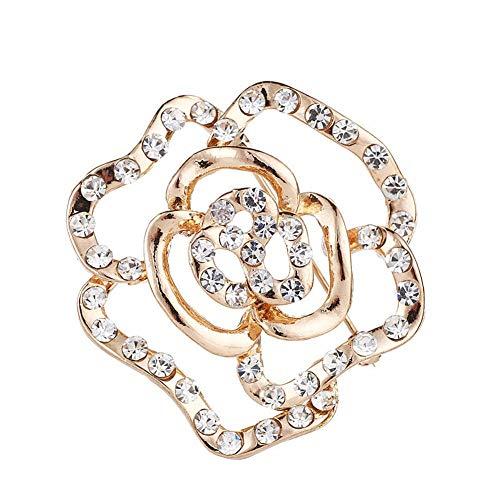 ZUOLUO Broschen Für Kleidung Sicherheitsnadeln Perlenbrosche Legierung Vintage Rosenbrosche Schmuck Kristall Diamant-brosche Damen Diamante Elegante Brosche -
