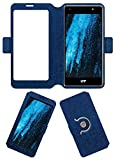 Acm SVIEW Window Designer Rotating Flip Flap Case for Lyf Water F1s Mobile Smart View Cover Stand Blue