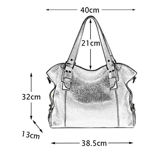 Mena UK Primo piano morbido di stile dell'annata delle donne di borsa di cuoio grande borsa di spalla del sacchetto di spalla ( Colore : Vino rosso , dimensioni : 40cm*32cm*13cm ) Vino rosso