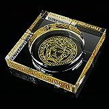 HUACANG Cendrier de Cadeau de Cristal Transparent Versace Daddy, Grand cendrier de Cigare de Bureau de décoration intérieure, cendrier Peint à la Main de Jardin extérieur (Or + Transparent)
