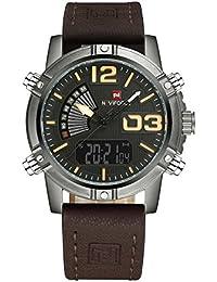 Naviforce reloj de los hombres de estilo de deporte Militar analógico Digital reloj de pulsera, correa de piel, doble zona horaria, alarma, temporizador, LCD luz (marrón)