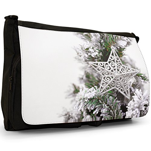 Fancy A Bag Borsa Messenger nero Silver Star on Snowy Christmas Tree Silver Star on Snowy Christmas Tree