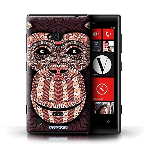 Kobalt® Imprimé Etui / Coque pour Nokia Lumia 720 / Hibou-Mono conception / Série Motif Animaux Aztec Singe-Rouge