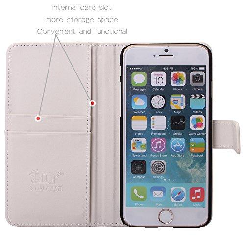 Pdncase iPhone 6 Genuine Leder Tasche Case Hülle Wallet Style Schutzhülle für iPhone 6 Farbe Schwarz Weiß