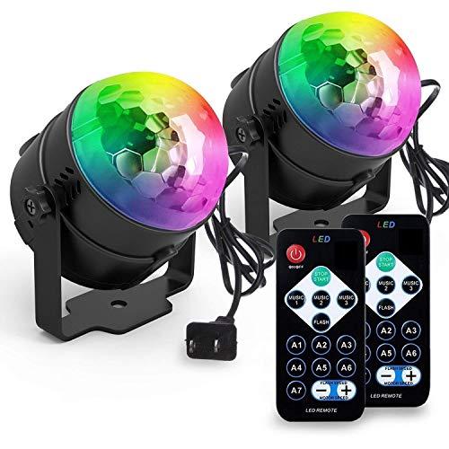 Discokugel, ACCEWIT Mini LED Disco Lichteffekte Discolicht Partylicht 7 Farbe RGB Bühnenlicht mit der Fernbedienung für DJ Disco Kinder Geburtstag Weihnachten Party Hochzeitsfei -2 Pack