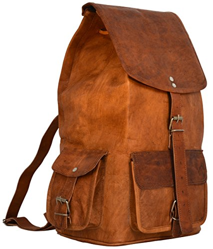 """Gusti Cuir nature """"Archibald"""" sac à dos en cuir sac de ville besace cabas en cuir sac de randonnée notebooks 11,6"""" iPad Air sac porté épaule sac en cuir homme femme marron M60b"""