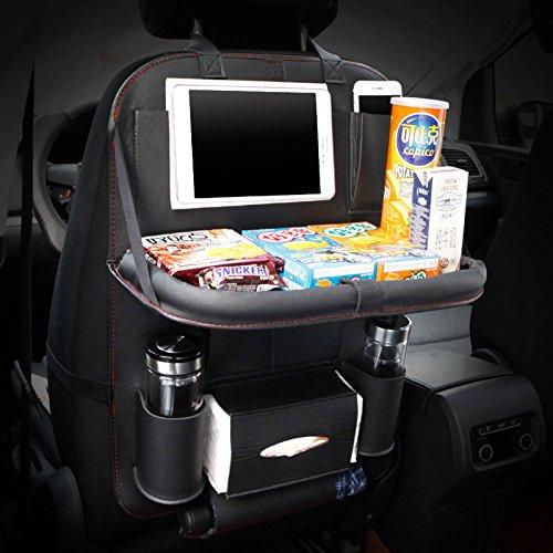 Preisvergleich Produktbild HCMAX 1 Pack Luxus Auto-Rückenlehnenschutz Autositz-Zurück-Organisator Faltbar Esstisch Halter Tablett Multifunktional Schutz Aufbewahrungstasche Trittmatte Reisezubehör PU-Leder