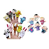 Fami-16PC Stuff Finger Puppets 10 Animali giocattoli