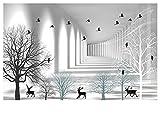 Wapel Verdunklungsvorhänge Schwarz-Weiß-Skizze Galerie Einfache Abstrakte Baum Vögel Drucken 3D Foto Vorhang Für Wohnzimmer Schlafzimmer Fenster Balkon H245 * W220cm