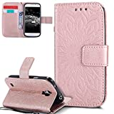 EMAXELERS Galaxy S4 Mini Hülle Mandala Sunflower Prägung Muster PU Leder Wallet Case Flip Cover im Etui Brieftasche mit Standfunktion für Samsung Galaxy S4 Mini,Rose Gold Left and Right Sunflower